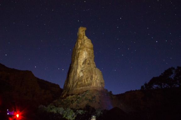 Light painting. Lower Monument Canyon Trail, October 26, 2013.