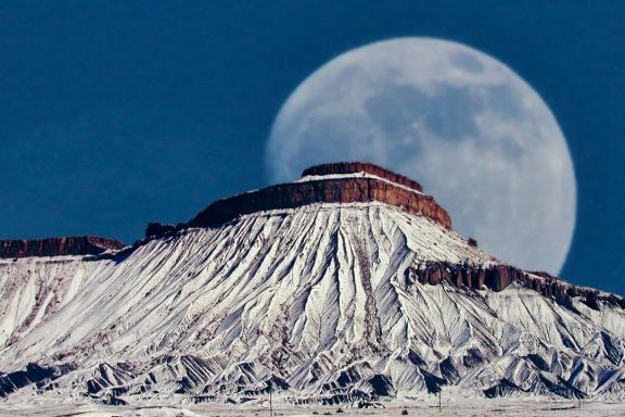 Moon Behind Mt. Garfield