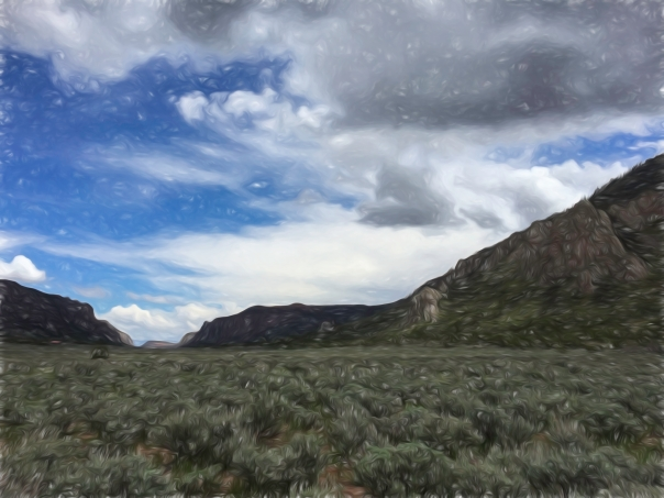 Unaweep Canyon. Wildcat Trail, May 2014. Looking toward Grand Junction, Colorado.