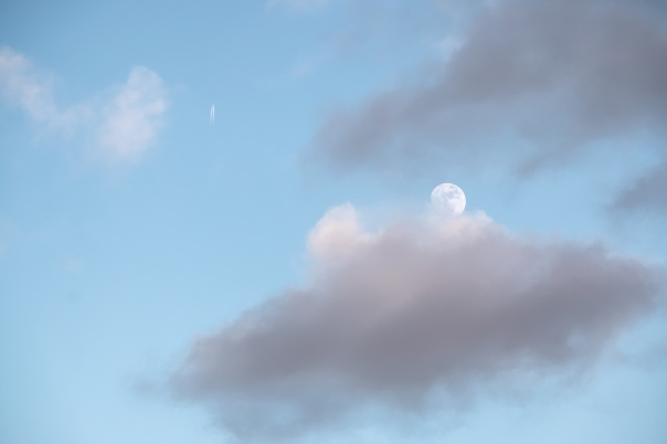 Moon, Cloud, Vapor Trail